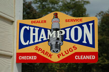 OLD STYLE CHAMPION SPARK PLUG CAR VINTAGE TYPE FLANGE THK STEEL SIGN MADE IN USA
