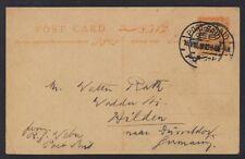 EGYPT 1920 3 MILS ORANGE POSTAL CARD W/PORT SAID DOUBLE STRIKE TO HILDEN GERMANY