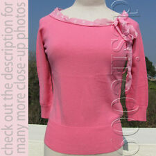 BLUGIRL Polka Dots Bow Boat Neckline Cotton Knit Top S to Small M