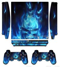 Blue Fire 256 Skin Sticker Cover PS3 PlayStation 3 Slim and 2 controller skins