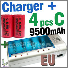 4 x C Size 9500mAh Battery + Rechargeable Charger D AA AAA 2A 3A 9V NIMH EU Red