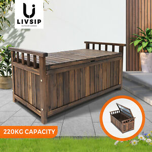 Livsip Outdoor Storage Box Wooden Garden Bench Chest Toy Tool Sheds Furniture