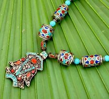 Nepal Tibetan Necklace Turquoise Coral Ethnic Jewelry Boho Gypsy Festival Tribal