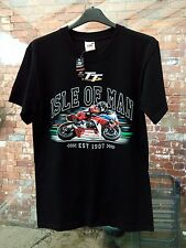NEW WITH TAG ISLE OF MAN TT FRUIT OF THE LOOM BLACK MOTORBIKE RACING T-SHIRT S