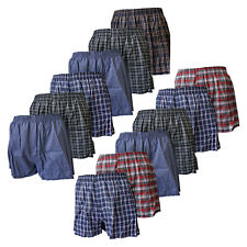 Mens 3 Pairs Woven Check Boxer Shorts Underwear Small to Big King Sizes ASSORTED