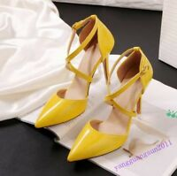 New Fashion Womens Shoes Party Cross Strap Buckle Patent Leather High Heels Size