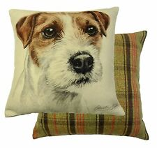 EVANS LICHFIELD MADE IN UK PARSONS JACK RUSSELL TARTAN REVERSIBLE CUSHION 17""