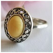 2.5g NATURAL BUTTERSCOTCH Royal White AMBER 925 STERLING SILVER Infinity RING 6