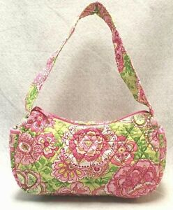 VERA BRADLEY floral print in shades of pink green PETAL PINK Maggie shoulder bag