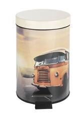 Mülleimer 3 Liter - Treteimer mit Bus Motiv - Bad Kosmetikeimer Abfalleimer rund