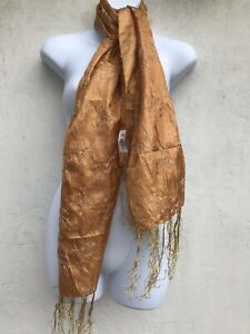 CAPIZ GORGEOUS WOMENS 100% GOLD SILK CLASSIC SCARF WRAP WITH FINE THREAD TASSEL