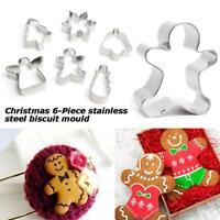 6Pcs Christmas Tree Snowman Shape Cookie Cutter Stainless Cake Mold Fondant AU