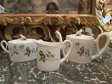 ancien service a café en porcelaine fleur mesange pot a lait cafetiere sucrier
