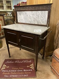 RECLAIMED Victorian - ANTIQUE OAK WASHSTAND (Grey Marble Top / Cupboard Below)