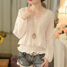 Fashion Women White V Neck Hollow Lace Long Sleeve Blouse Casual T Shirt Tops