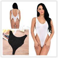 Women Sleeveless High Cut Backless Bandage Bodysuit Leotard Ladies Lingerie