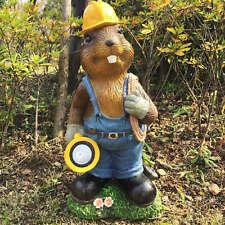 Resin Outdoor Lawn Decor Solar Light Mr Beaver Miner Garden Statue