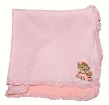 Carters Pink Girl Monkey Ruffle Reversible Cotton Security Blanket Just One You