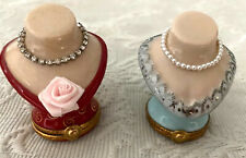 Set of two Artoria Limoges Jeweled Trinket Box Busts Numbered & Signed