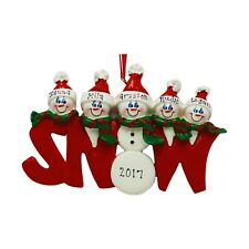 PERSONALIZED Snowman Snow Word Family of 5 Christmas Ornament 2019 Holiday Gift