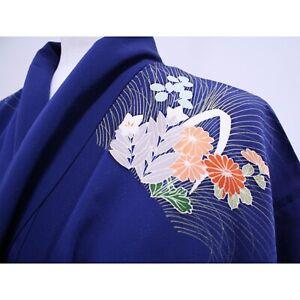 Japanese Authentic Long Lined Kimono Women's M 100% Silk Brilliant Blue