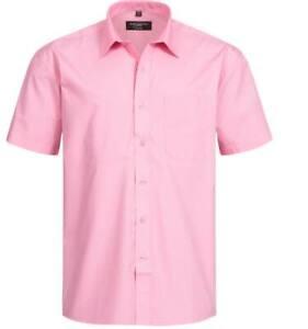 RUSSELL Short Sleeve Pure Cotton Poplin Herren Hemd Summer Bright-Rosa
