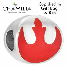 Genuine Chamilia 925 Disney Silver Star Wars Red Rebel Logo Charm Bracelet Bead