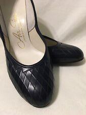 """Vintage 1960's Dark Navy Leather Pumps Shoes 2.75"""" Heel, Sz 7 Aa, Excellent!"""