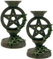 """Unique Wiccan Gifts Pentagram Taper Candle Holder Set 5 1/2"""" Wicca Ritual Decor"""
