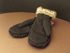 Ladies nylon quilted mitten with fur trim (Z-14)