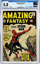 Amazing Fantasy 15 CGC 5.0 Origin & 1st Appearance of Spider-Man & Stan Lee Coin