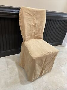 3 - Pottery Barn Mesa Everyday Suede Loose Fit SIDE Dining Chair Slipcover Buff