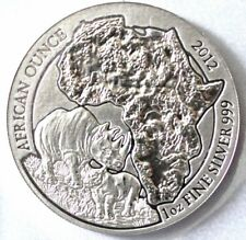 2012 Rwanda Rhino 1oz 999 Silver Coin Africn Ounce