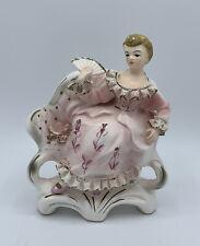 Vintage Tilso Japan Ceramic Blonde Woman Girl Sitting w/ Fan Hand Painted 53/191