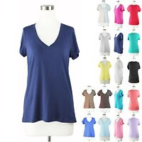 Womens Basic Plus Size V Neck T-Shirt Short Sleeve Top Stretch Fitted Solid 1~3x