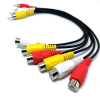 3 RCA Male Jack to 6 RCA Female Plug Splitter Video TV Adapter Audio Cable Tool