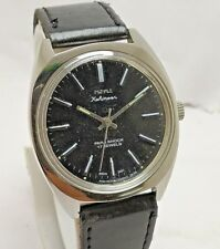 RARE VINTAGE INDIAN MADE HMT BLACK DIAL HAND-WINDING 17J WRIST WATCH MEN'S