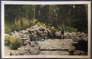 Yellowstone National Park YNP Men Hikers At Apollinaris Spring Postcard
