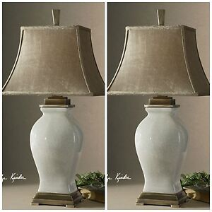 PAIR RORY CRACKLE GLAZE OVER PORCELAIN TABLE LAMP COFFEE BRONZE DETAILS