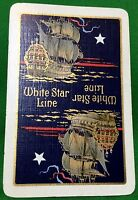 Playing Cards 1 Single Card Old WSL WHITE STAR LINE Shipping Advertising Galleon