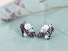 Earrings Nails Black Purple Pearl Shoes With Heel Top Small G6 203