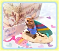 ❤️Wee Forest Folk MS-19 Surf's Up! Surfer Teal Surfboard Mouse Retired WFF❤️