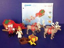 Playmobil 3604 Playset Christmas Santa Sleigh Reindeer Angel~Incomplete AS IS
