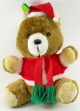 "Henco Plush Teddy Bear 12"" Vintage Christmas Santa Hat Suit Retro Scarf Stuffed"