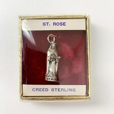 Silver Pendant Charm With Box Vintage St. Saint Rose Creed Sterling