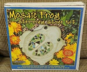 """BRAND NEW SEALED MOSAIC FROG STEPPING STONE KIT 13"""" inches - stained glass parts"""