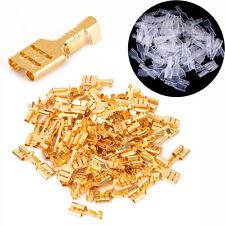 6.3mm Crimpverbinder Flachsteckhülsen Flachstecker Spade Kabelschuhe Sleeve x100