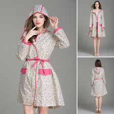 Floral Waterproof Raincoat Rainwear Hooded Parka Poncho Long Coat For Women