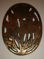 1997 OLD China DESIGN - Copper over Cast Iron - Tulip Trivet/Wall Hanging Decor