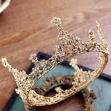 "6"" (15cm) Wide Large Gold Crown Purple Crytal Wedding Bridal Party Pageant Prom"